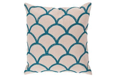 Accent Pillow-Scales Geo Ivory/Teal 18X18