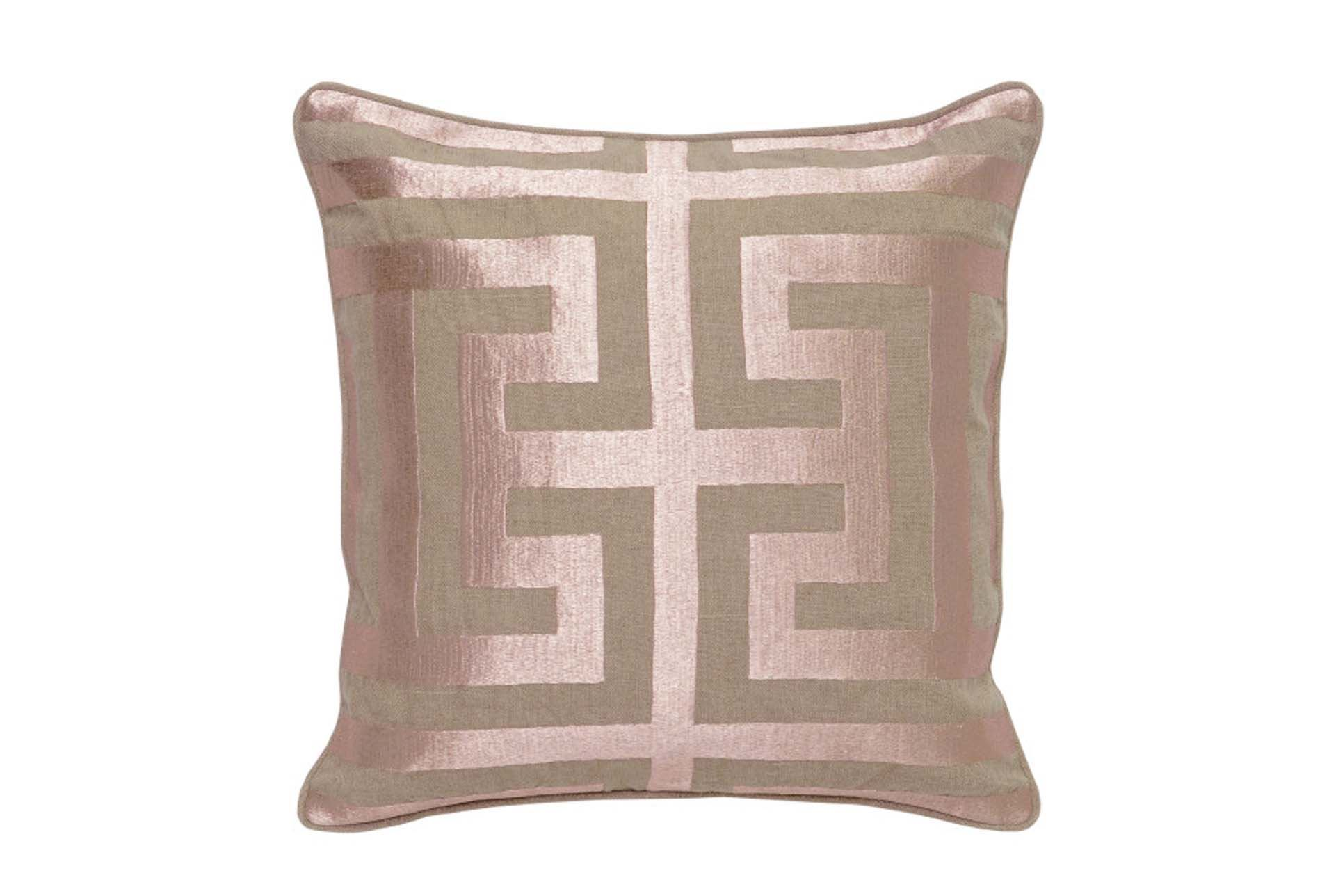 Accent Pillow-Rose Gold Metallic Greek Key 22X22 - Living Spaces