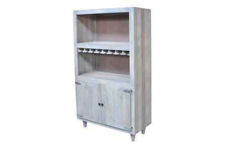 Otb Natural Grey Wash Finish 2-Door Wine Cabinet - Main