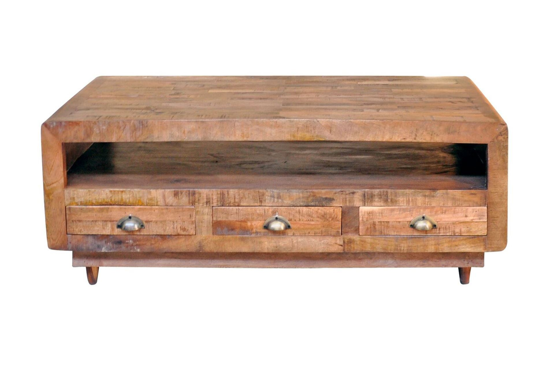 Otb Antique Walnut Finish 6 Drawer Rectangular Coffee Table Living Spaces