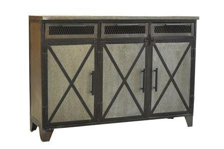 Otb Antique Metal Finish 3-Drawer/3-Door Sideboard - Main