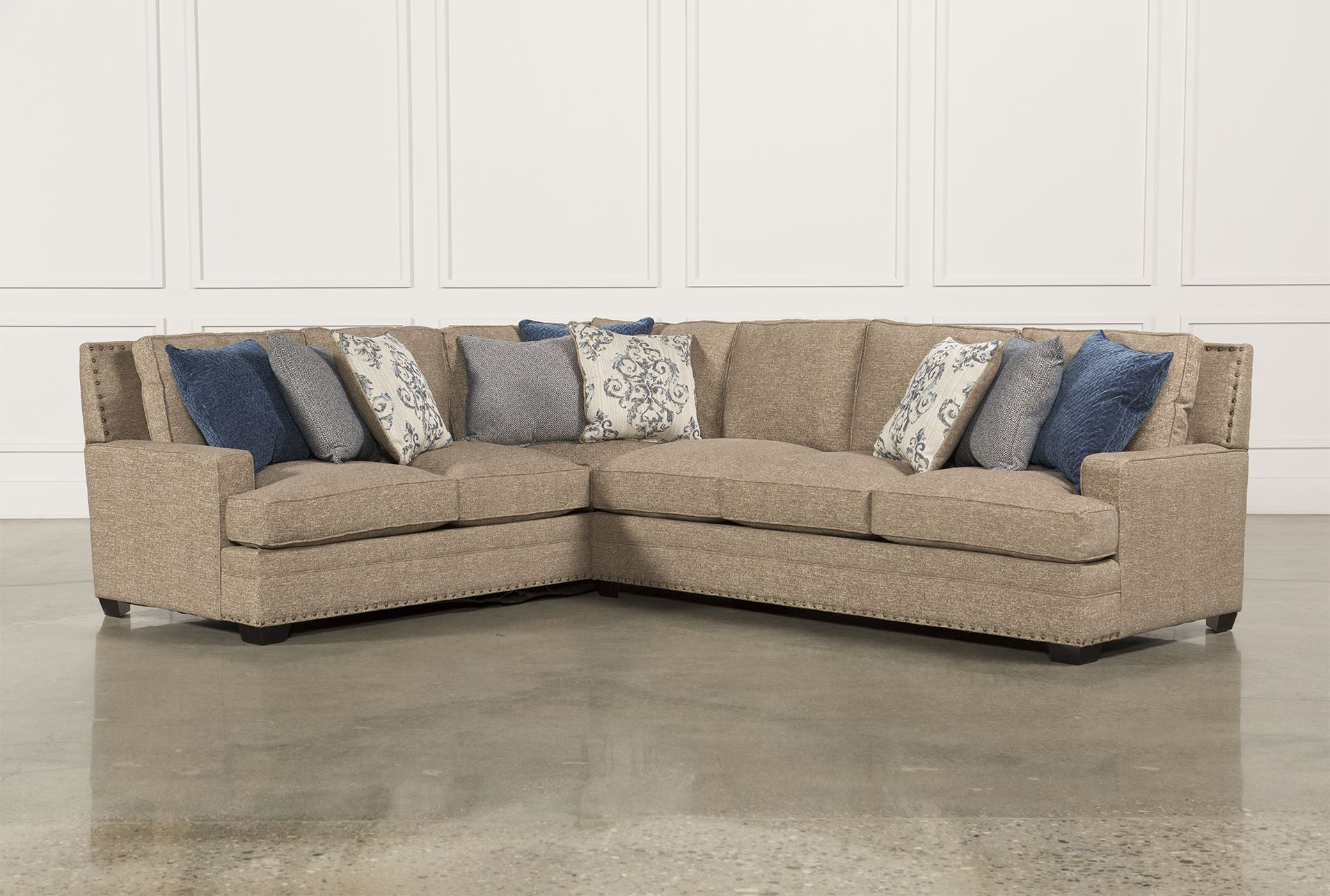 Pamela 2 piece sectional w raf sofa living spaces for Living spaces sofas