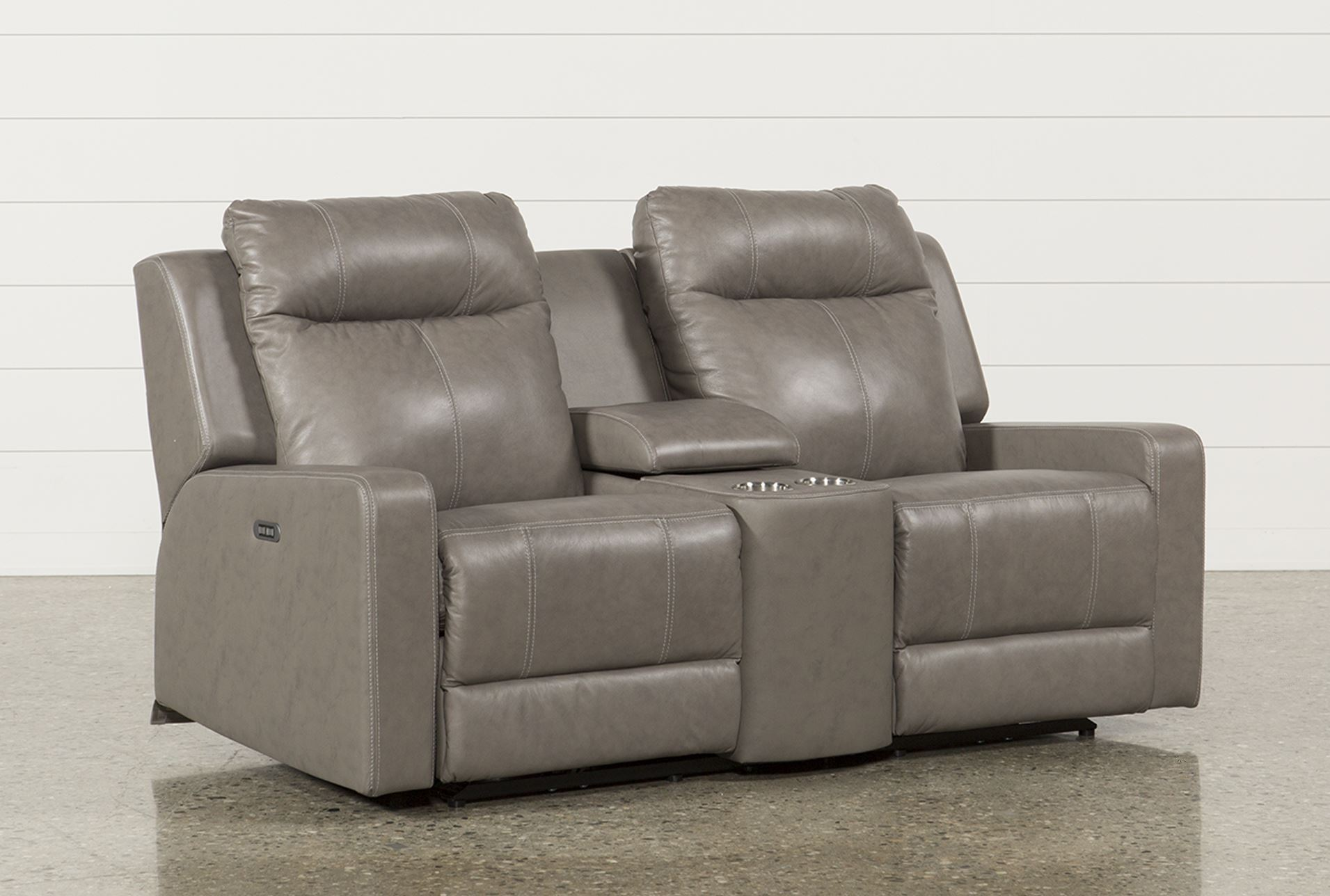 Sequoia Sable Dual Power Reclining Loveseat W Console Adj Headrest Living Spaces