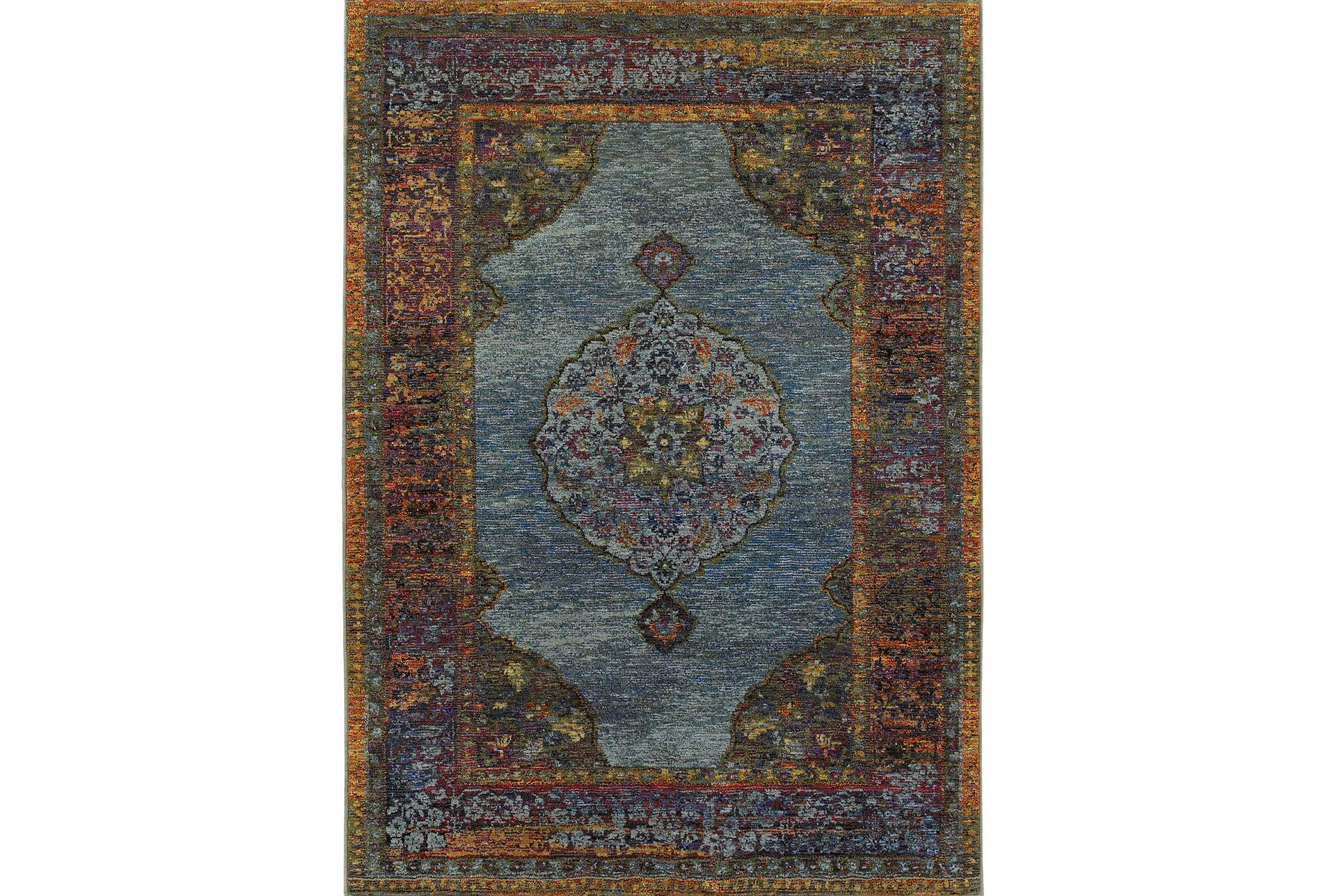 63x87 rug harriet moroccan blue living spaces for Living spaces rugs