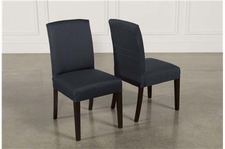 Garten Navy Chairs W/Espresso Finish Set Of 2 - Main