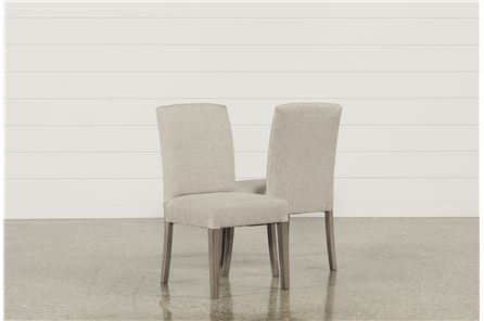 Garten Linen Chairs W/Greywash Finish Set Of 2 - Main