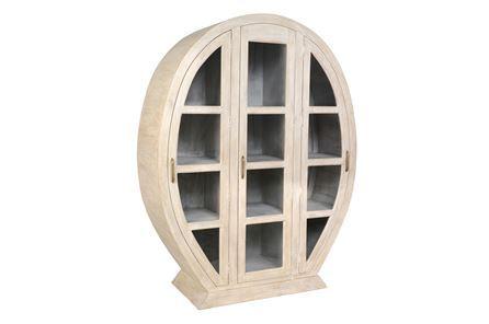 Otb White Wash Oval Display Cabinet - Main