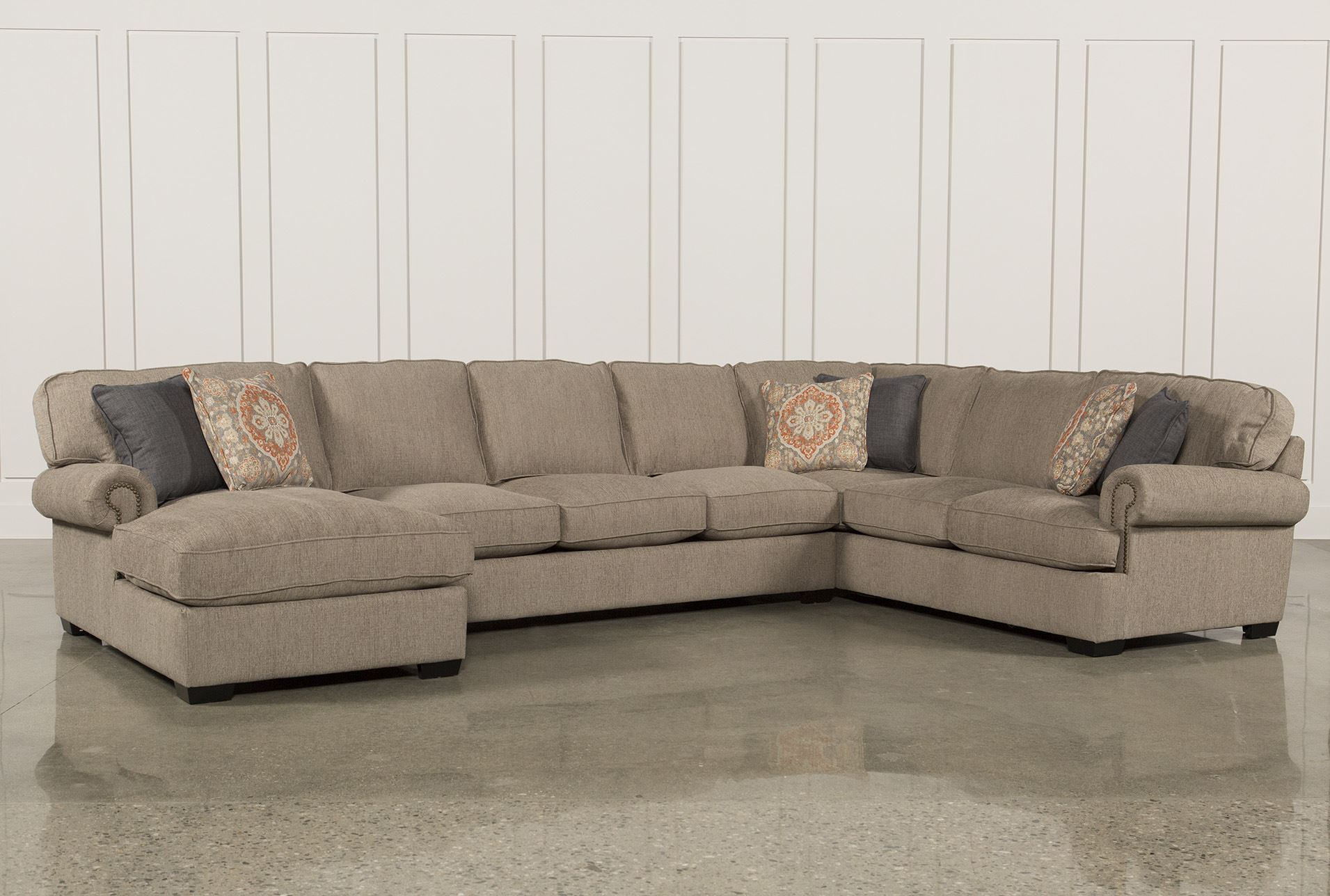 Campbell 3 piece sectional living spaces for Xander sectional sofa