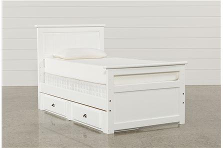 Summit White Twin Panel Bed W/2- Drawer Underbed Storage - Main