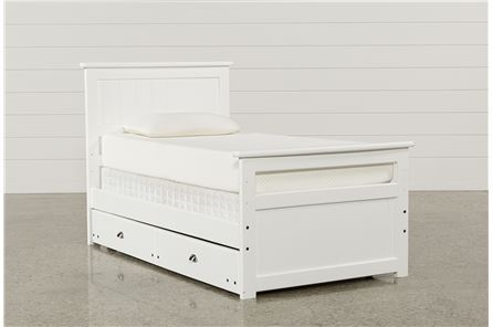 Summit White Twin Panel Bed W/Trundle W/Mattress - Main