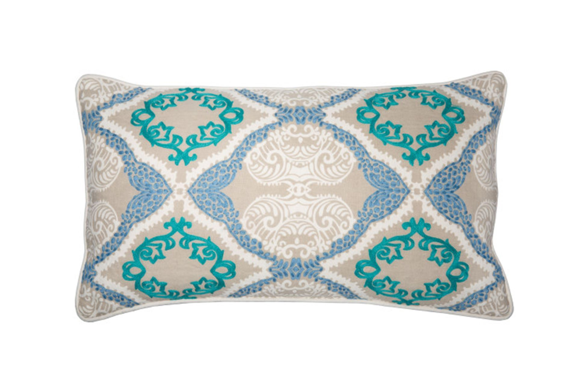 Accent Pillow-Aqua Embroidered Ogee 14X26 - Living Spaces