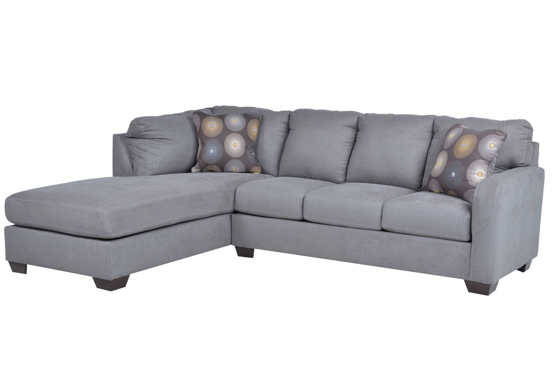 Zella charcoal 2 piece sectional w laf chaise living spaces for 2 piece chaise sectional