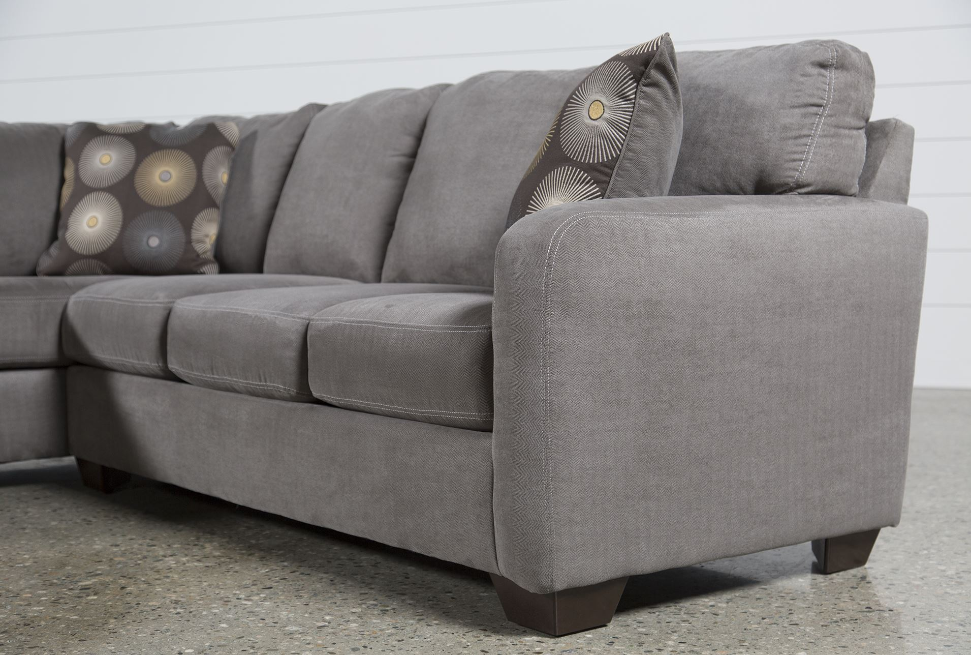 Zella Charcoal 2 Piece Sectional W Laf Chaise Living Spaces