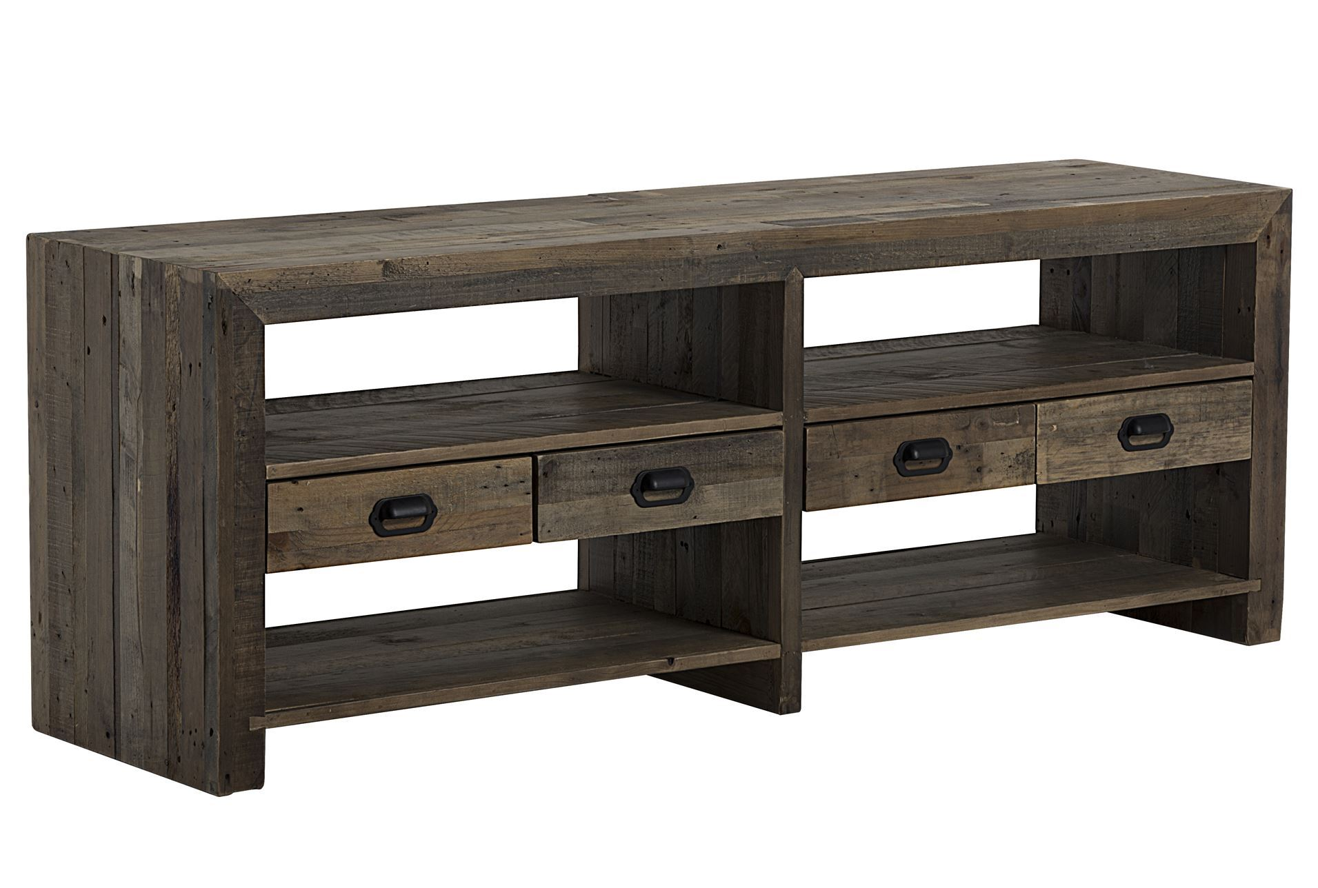 Reclaimed wood living spaces for 70 inch console table