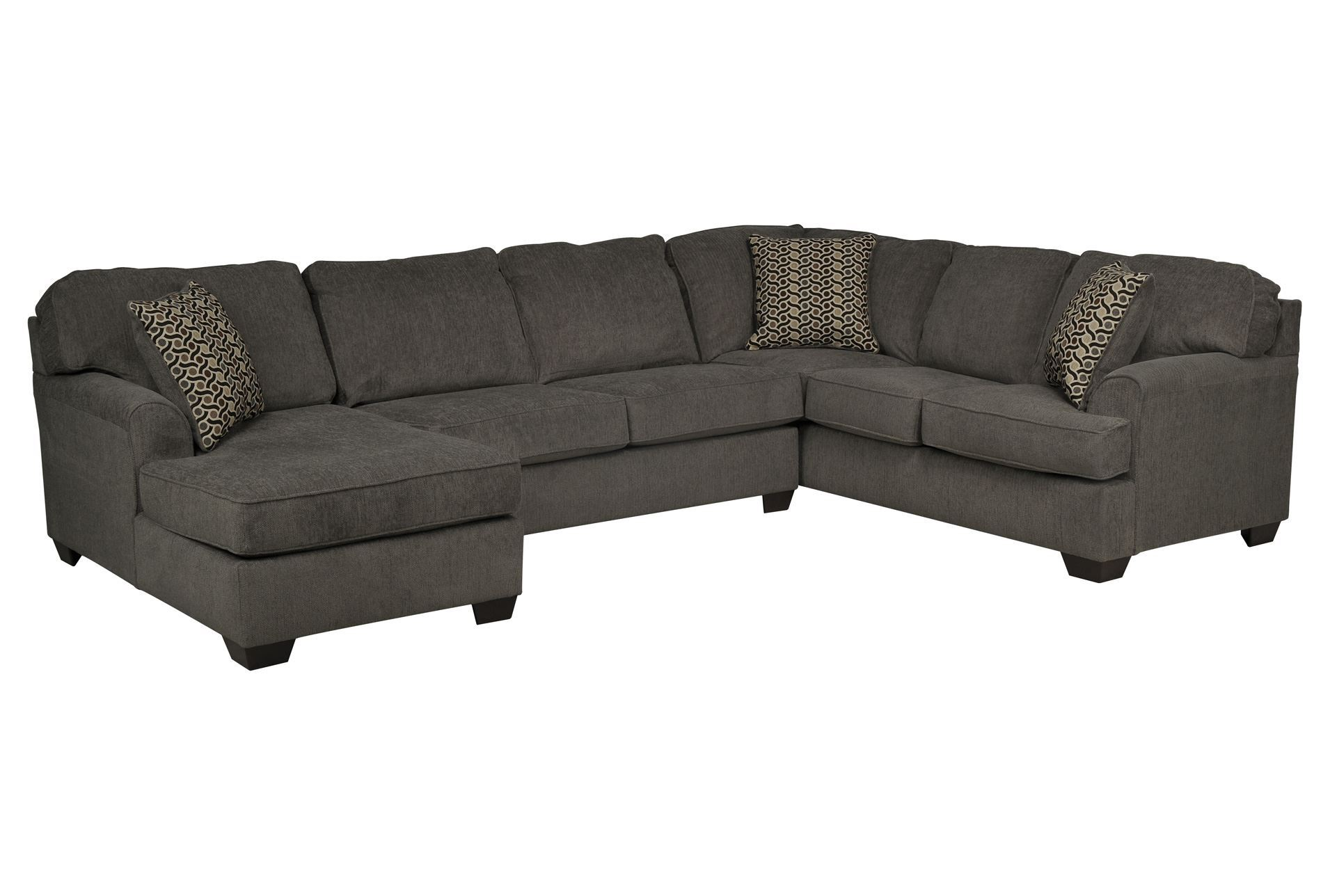 Loric smoke 3 piece sectional w laf chaise living spaces for Living spaces sectionals