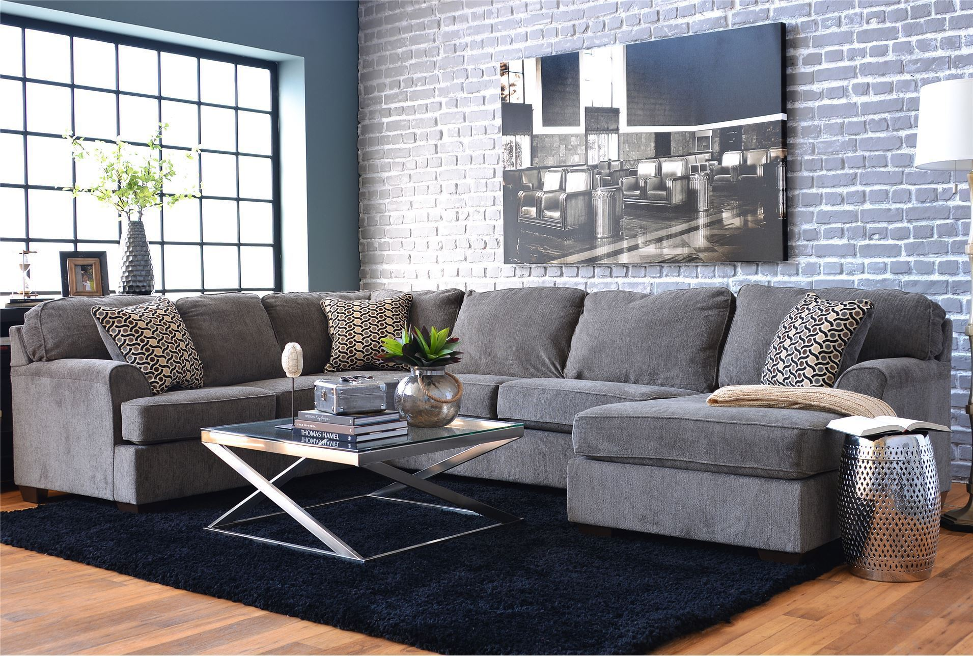 Loric smoke 3 piece sectional w raf chaise living spaces for Living spaces sofas
