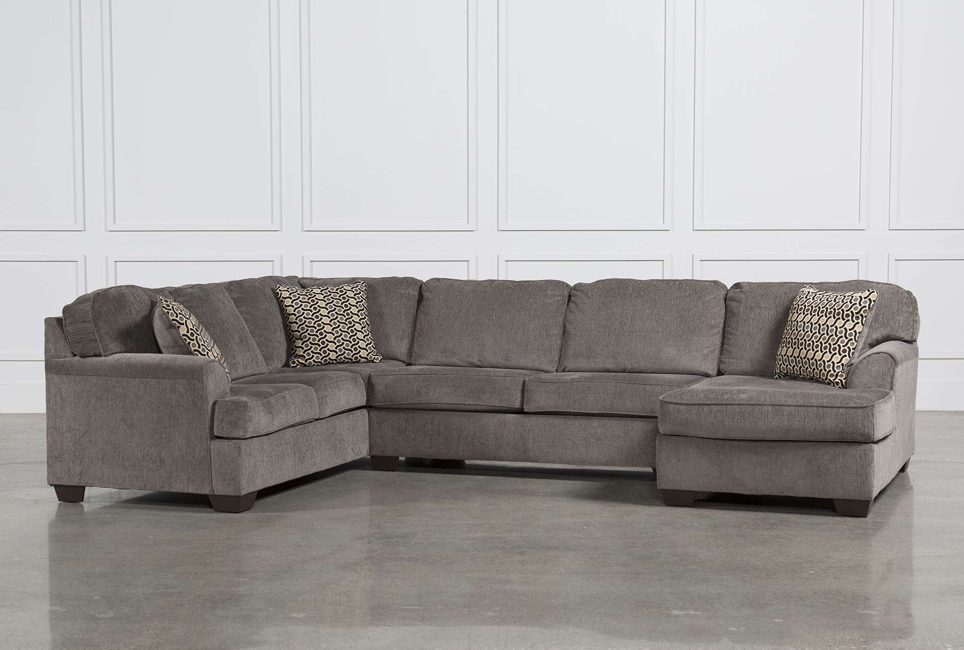 Loric Smoke 3 Piece Sectional W Raf Chaise Living Spaces