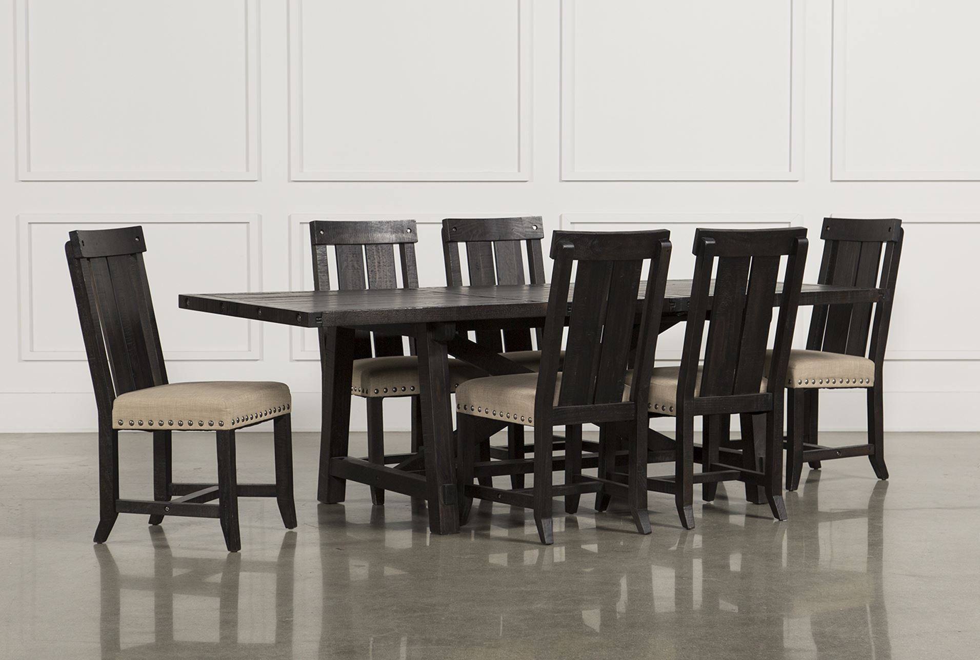Jaxon 7 piece rectangle dining set w wood chairs living for 7 piece living room set with tv
