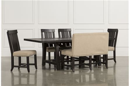 Jaxon 6 Piece Rectangle Dining Set W/Bench & Wood Chairs - Main