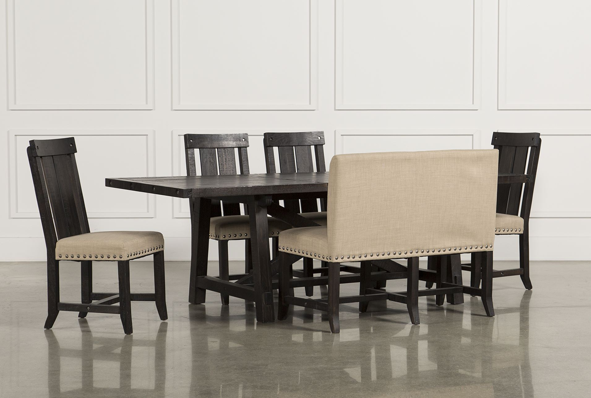 Jaxon 6 Piece Rectangle Dining Set W Bench Wood Chairs