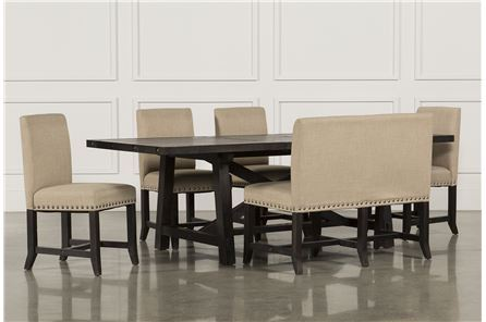 Jaxon 6 Piece Rectangle Dining Set W/Bench & Upholstered Chairs - Main