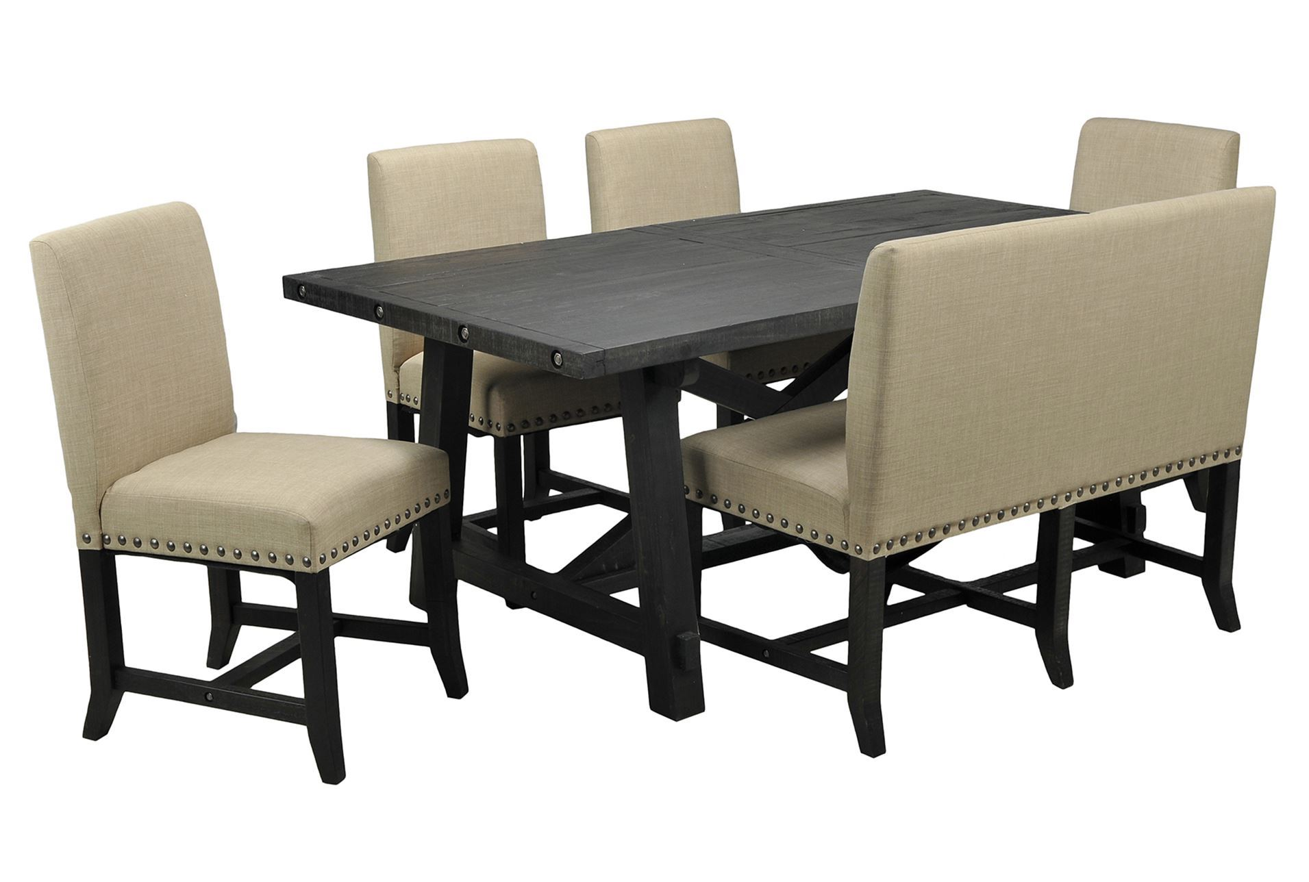 jaxon 6 piece rectangle dining set w bench upholstered chairs living spaces
