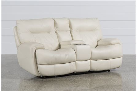 Oliver Ivory Power Reclining Loveseat W/Console - Main