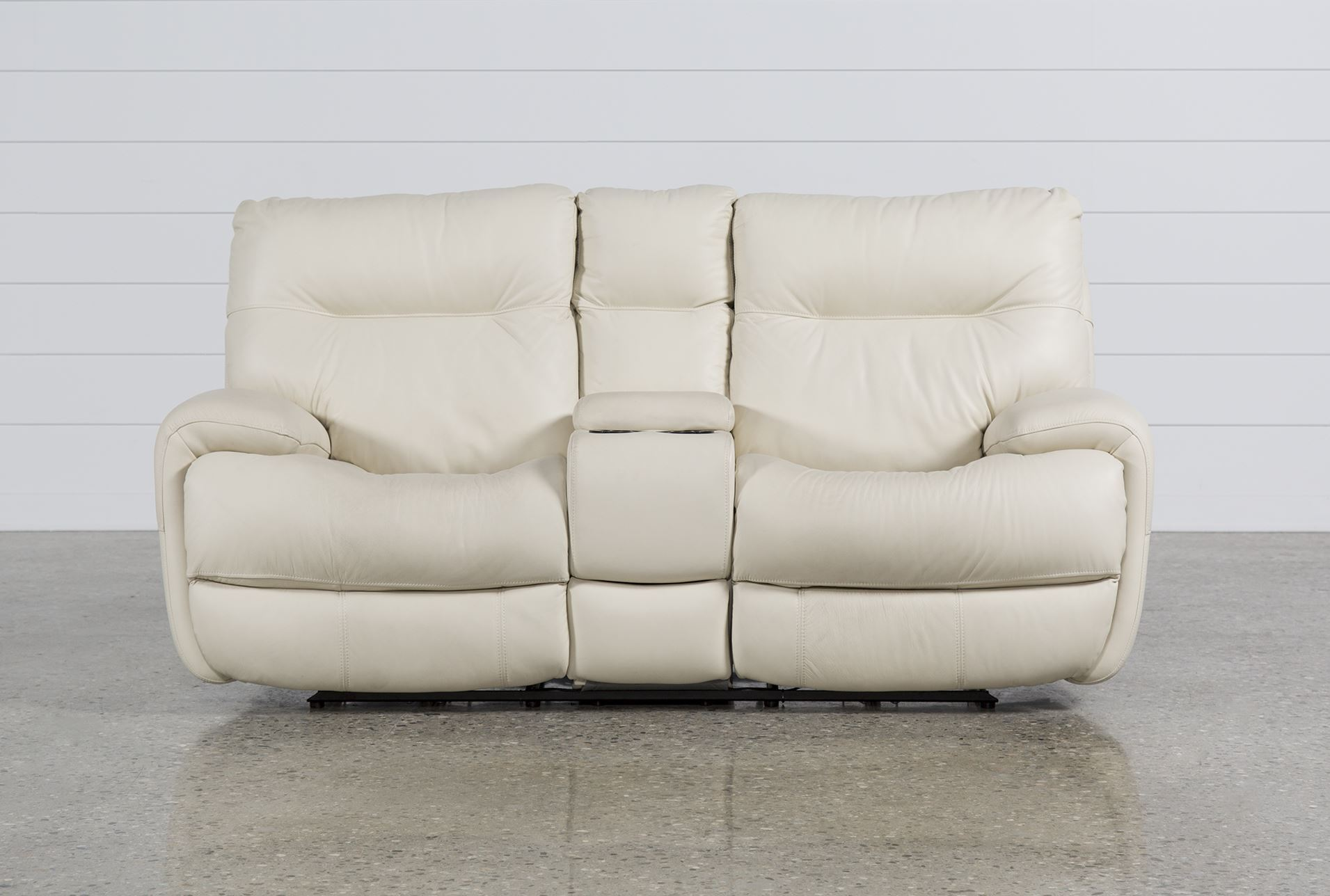 Oliver Ivory Power Reclining Loveseat W Console Living