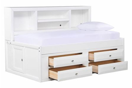 Varsity White Twin Roomsaver Bed W/4- Drawer Captains Unit - Main
