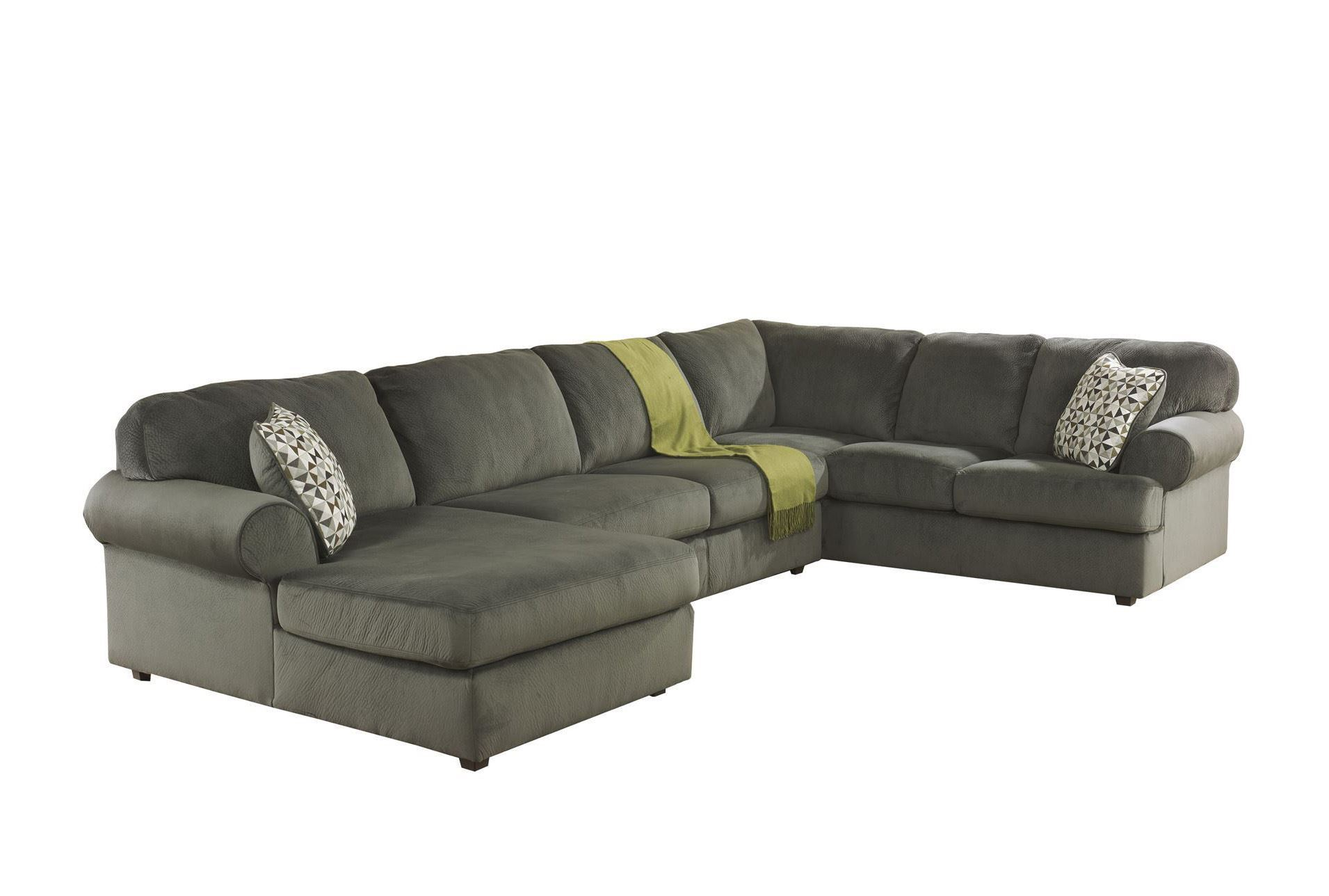 Jessa place pewter 3 piece sectional w laf chaise living for Chaise 3 places