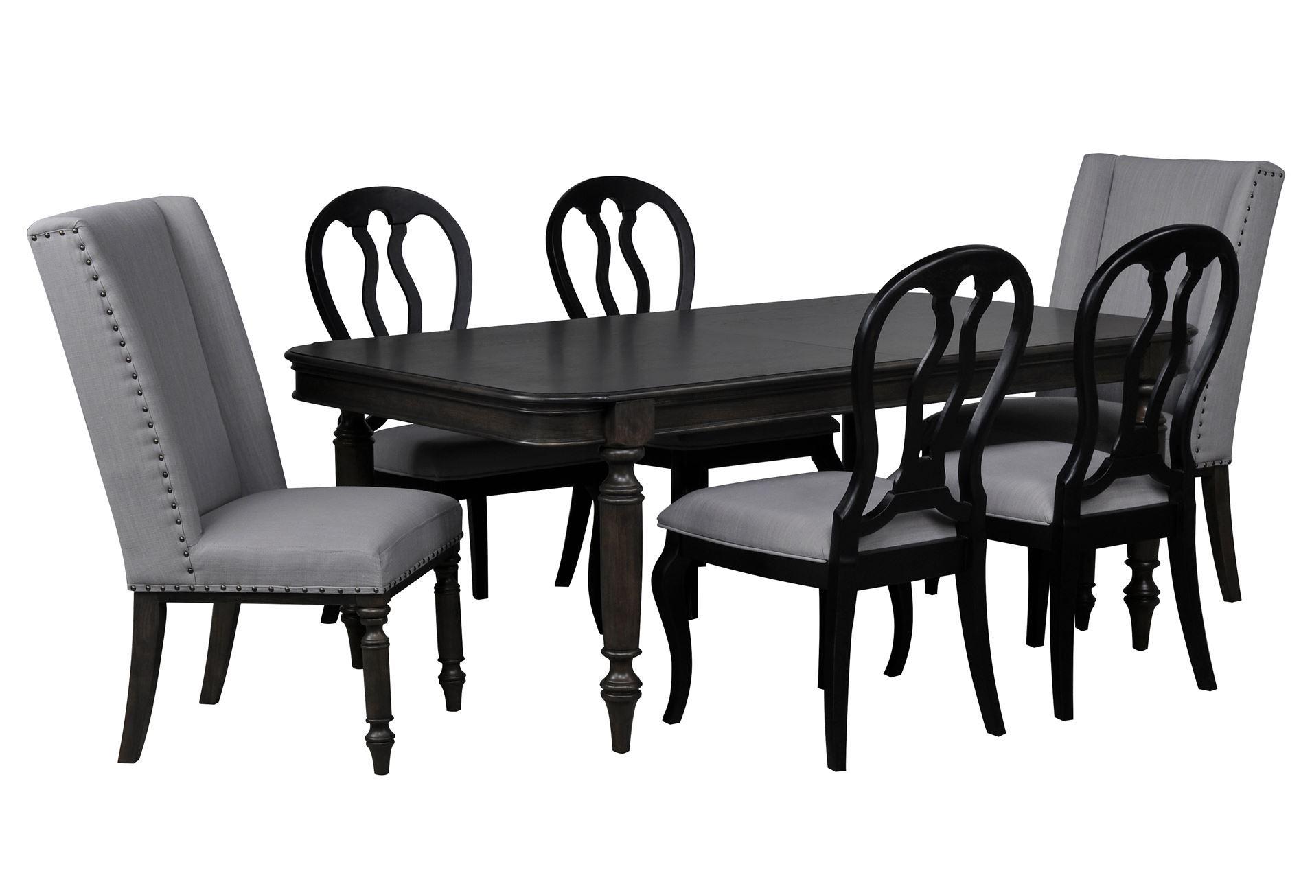 laurel 7 piece dining set w black side chairs living spaces. Black Bedroom Furniture Sets. Home Design Ideas