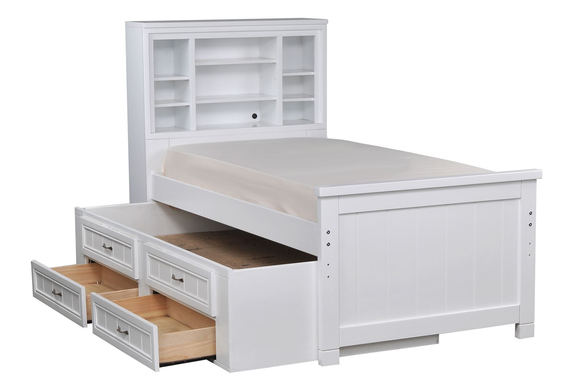 Captains trundle bed living spaces - White twin captains bed with drawers ...