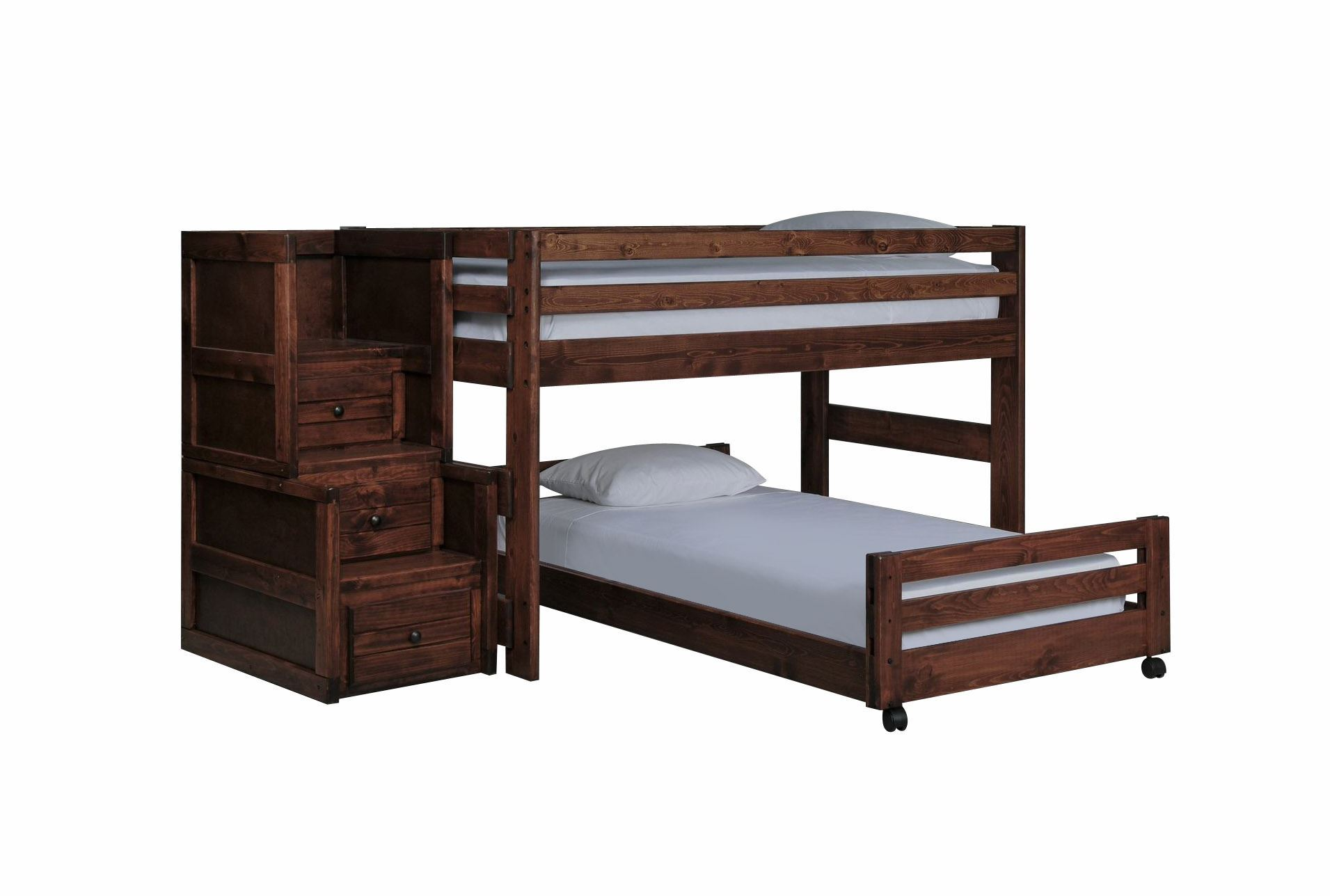 Sedona Junior Loft Bed W Tw Caster Bed Jr Stair Chest