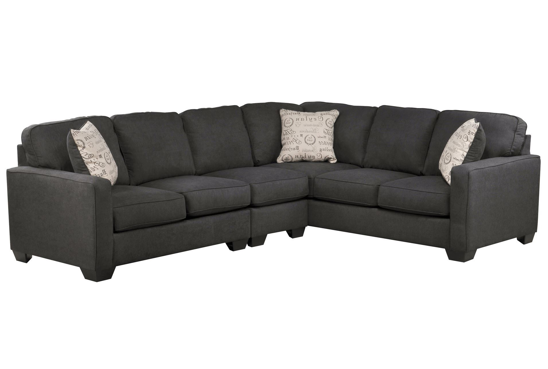 Alenya charcoal 3 piece sectional w laf loveseat living for Living spaces sofas