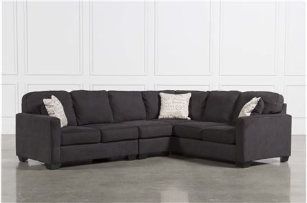 Alenya Charcoal 3 Piece Sectional W/Laf Loveseat - Main