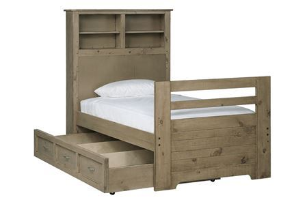 Dawson Grey Twin Bookcase Bed W/Storage Trundle