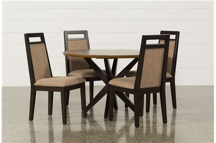 Spencer 5 Piece Round Dining Set W/Upholstered Chairs - Main