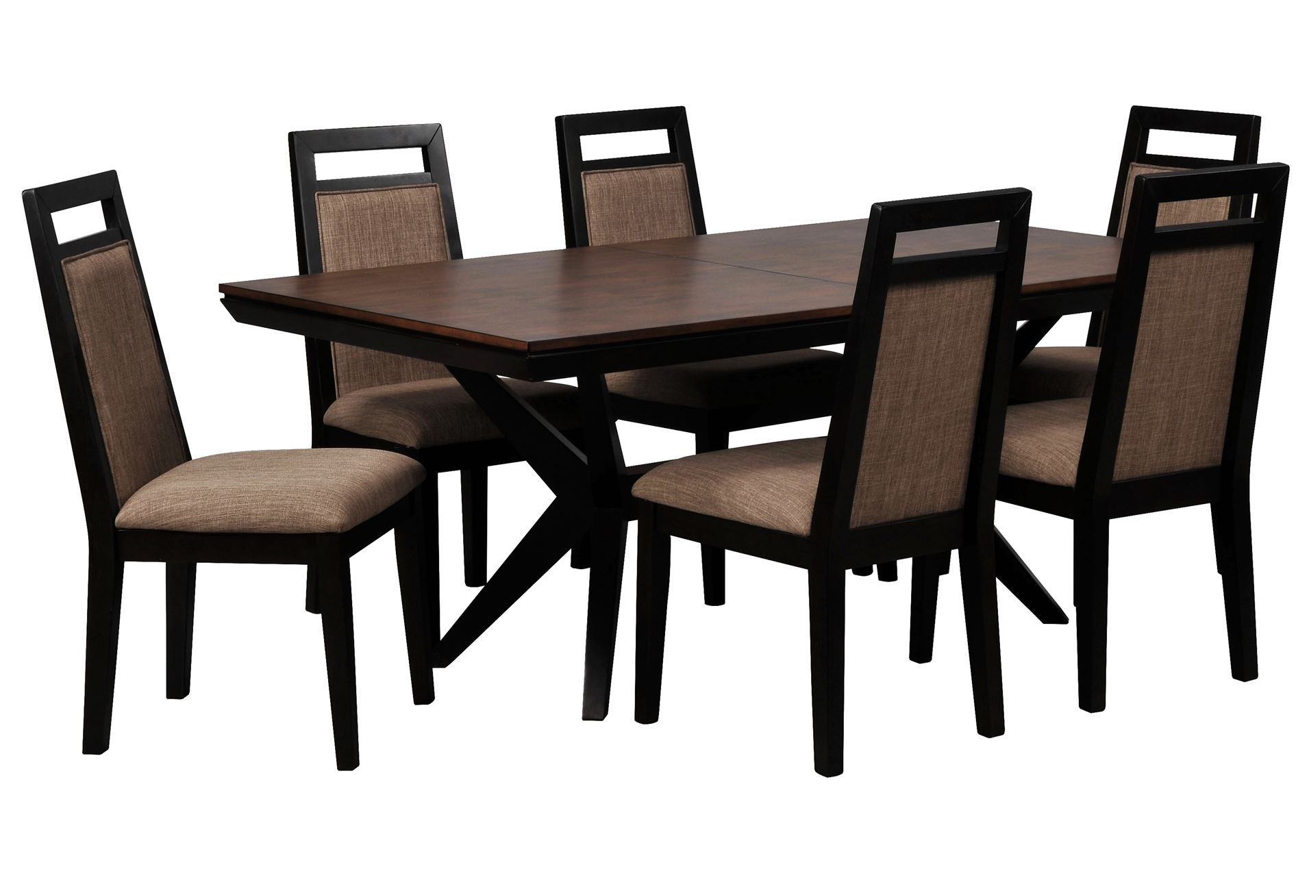 Spencer 7 piece rectangle dining set w upholstered chairs living spaces - Upholstered chairs for small spaces concept ...