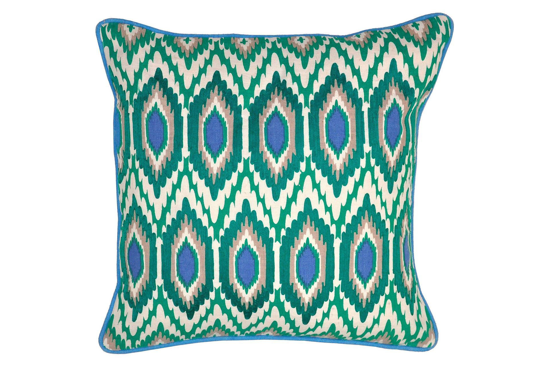 Decorative Pillows Living Spaces : Accent Pillow-Adira Hexagons Turquoise 18X18 - Living Spaces