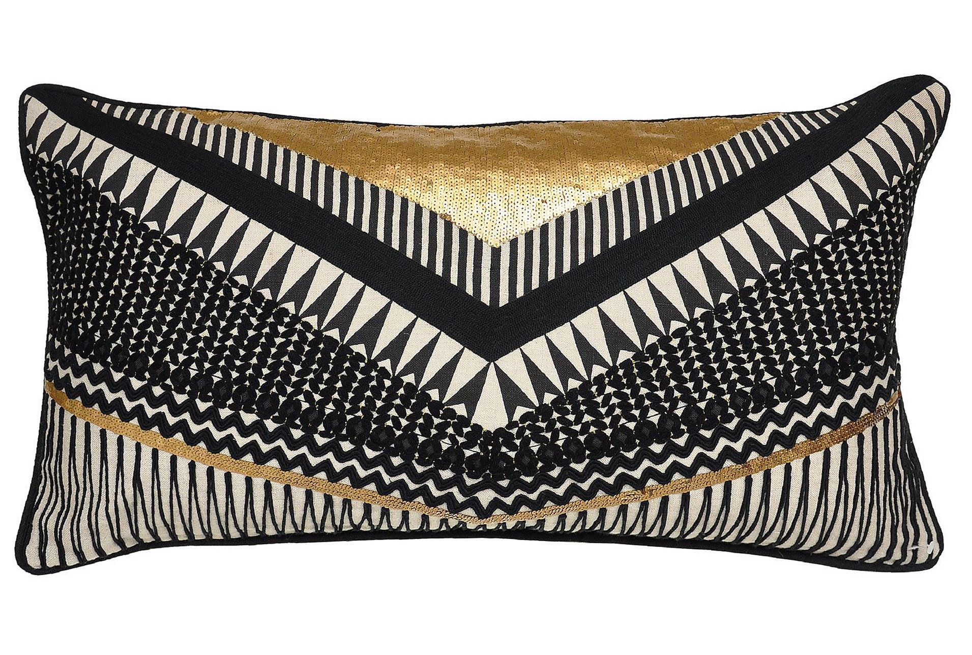 Decorative Pillows Black And Gold : Accent Pillow-Nico Chevron Black/Gold 14X26 - Living Spaces