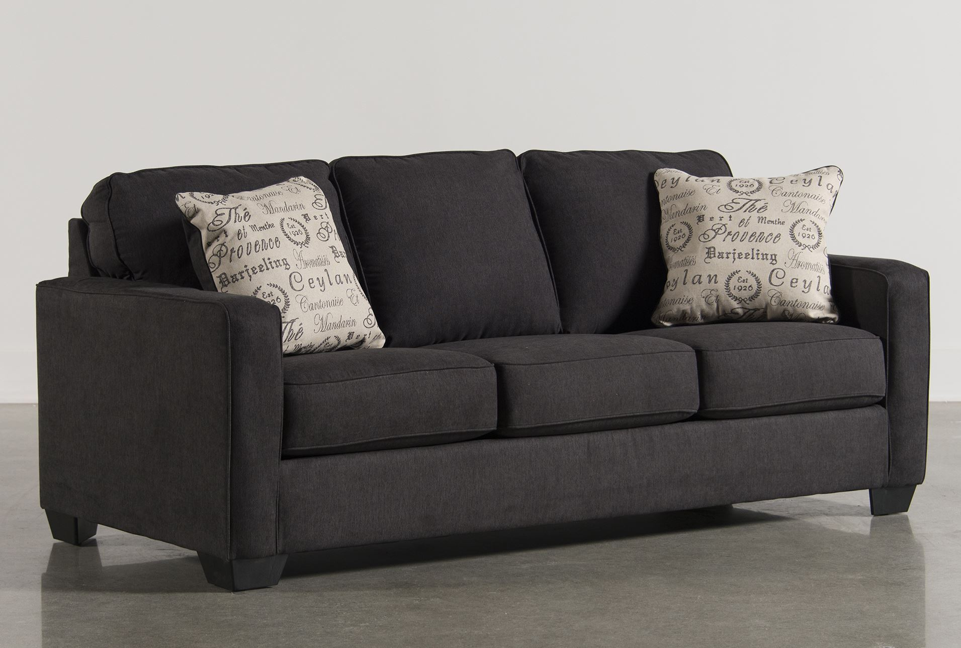 Alenya charcoal queen sofa sleeper living spaces for Living spaces sofas