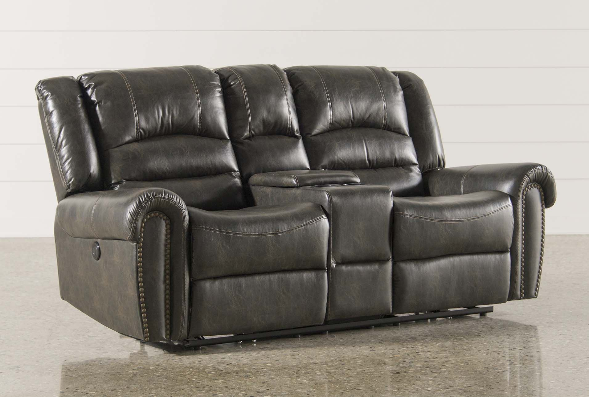 Goodwin power reclining loveseat w console living spaces Reclining loveseat with center console