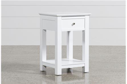 Bayside White 1-Drawer Nightstand - Main