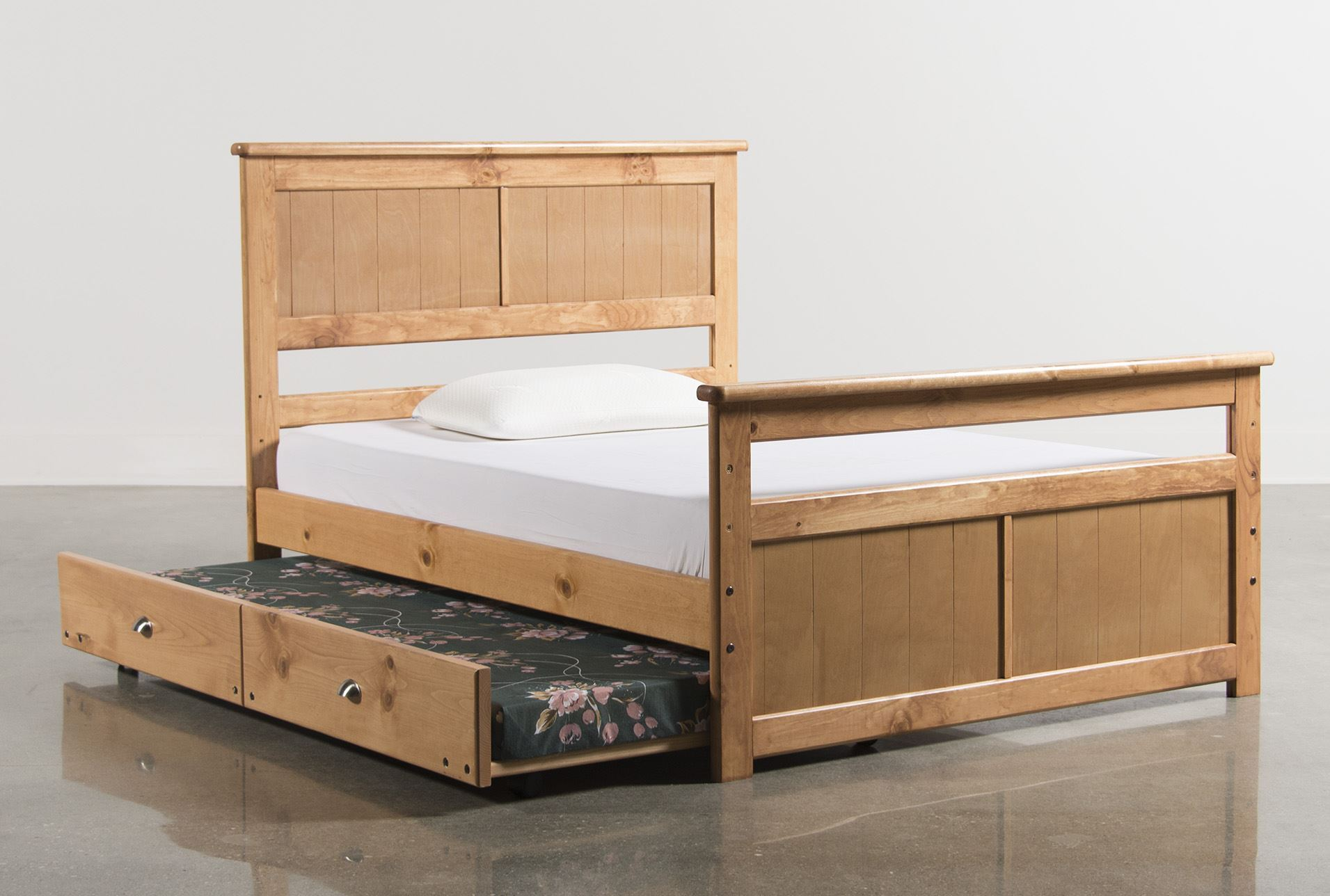 Summit caramel full panel bed w trundle w mattress for Living spaces full bed