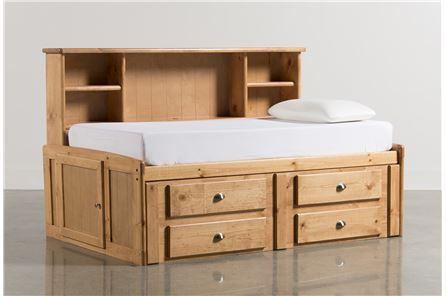 Summit Caramel Twin Roomsaver Bed W/4- Drawer Storage Unit - Main