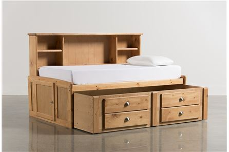 Summit Caramel Twin Roomsaver Bed W/2- Drawer Captains Trundle - Main