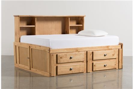 Summit Caramel Full Roomsaver Bed W/4- Drawer Storage Unit - Main