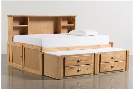 Summit Caramel Full Roomsaver Bed W/2- Drawer Captains Trundle - Main
