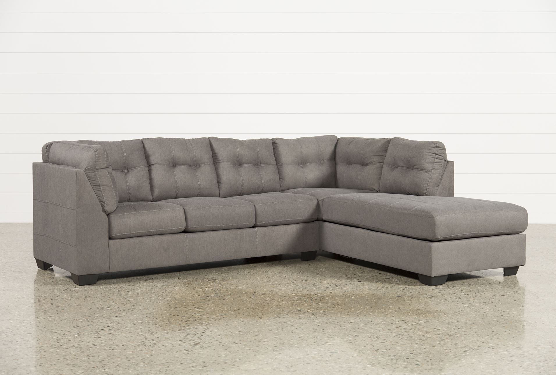 Maier charcoal 2 piece sectional w raf chaise living spaces for 2 piece chaise sectional