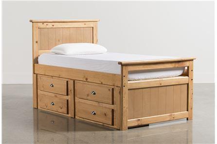 Summit Caramel Twin Panel Bed W/Single 4-Drawer Storage - Main